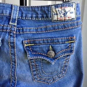 True Religion Blue Distressed Bootcut Jeans